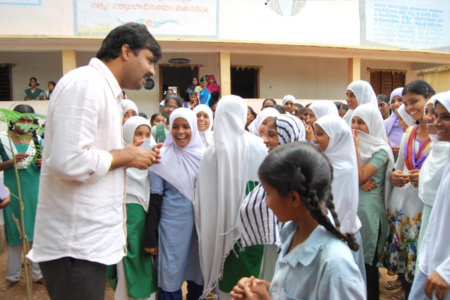 Interacting with students of Government Girls High school